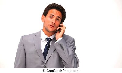 Elegant business man in suit speaking on the phone