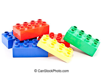 Building blocks - Plastic building blocks on white...