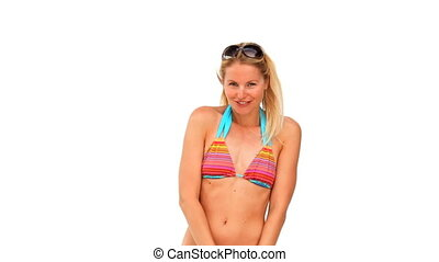Lovely woman in swimsuit with sungl