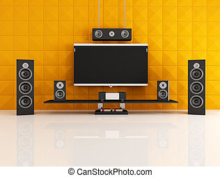 black and orange home theater with acoustic panel -...