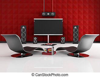 red and black home cinema - home cinema room with red...