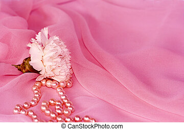 Carnation and pearls on pink silk chiffon - White flower and...