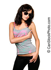 Seductive sexy young woman in sunglasses