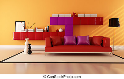 modern living room - bright red purple and orange...