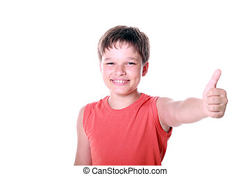 Happy Boy showing thumb up sign isolated on white background