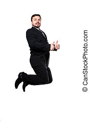 Business man jumping with thumbs up isolated over a white...