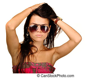 Sexy young woman in sunglasses, isolated on white