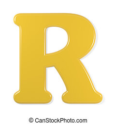 yellow font - letter r - Yellow letter r, isolated on white...