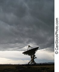 large antenna faces up - A large antenna dish of the VLA...