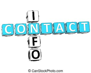 Contact Info Crossword - 3D Contact Info Crossword on white...