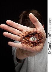 ojo, mano, -, visión, identidad, concepto
