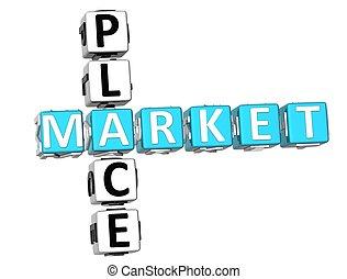 Market Place Crossword - 3D Market Place Crossword on white...