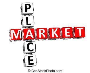 Market Place Crossword - 3D Market Place Crossword on white...