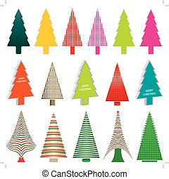 Set of colorful christmas tree