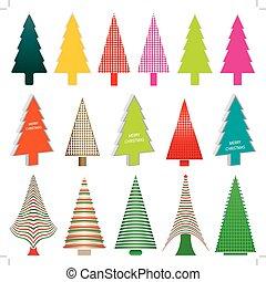 Set of colorful christmas tree