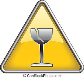 Glass hazard icon symbol, icon