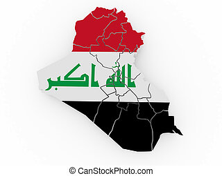 Map of Iraq in Iraqi flag colors