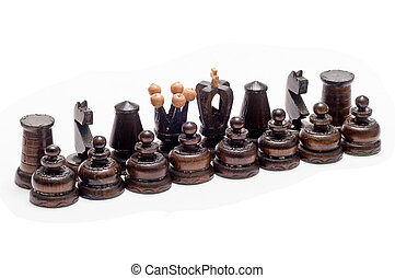 black chess figurines over a white background
