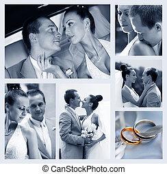 Collage of nine wedding photos - Collage of six wedding...