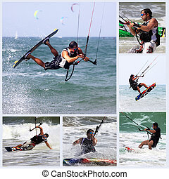Kitesurfer in action - Collage from 6 photos kiteboarder...