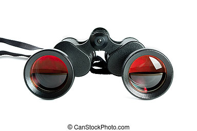 black binoculars - Pair of black binoculars with red orange...