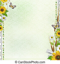 Summer background with frame and flowers (1 of set) - Summer...