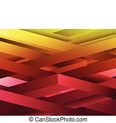 Red and Yellow abstract geometric lines background. - Vector...