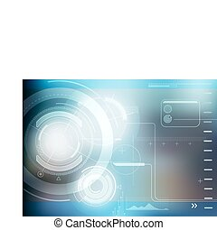 abstract techno background - Vector illustration of blue...