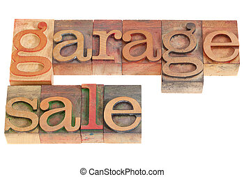 garage sale words in vintage grunge wood letterpress...