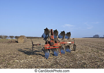 four furrow plow - an english landscape with a red four...