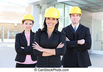 Man and Woman Architect Team - A handsome business man and...