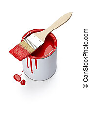 paint color tin can and brush - close up of paint container...