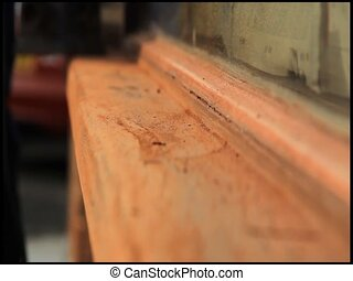 window sanded - window ledge being sanded down on a...