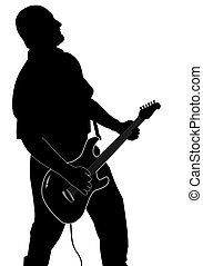 The Guitarist - Silhouette of the man playing a guitar on a...