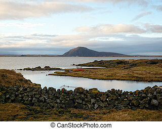 Lake Myvatn - Small boat at the border of Lake Myvatn in the...