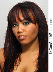 Beautiful Multiracial Girl, Headshot - Close-up of a lovely...