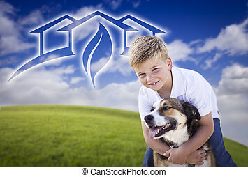 Adorable Boy and His Dog Playing Outside with Ghosted Green...