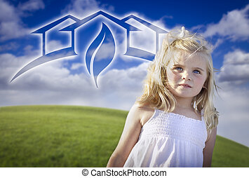 Adorable Blue Eyed Girl Playing Outside with Ghosted Green...
