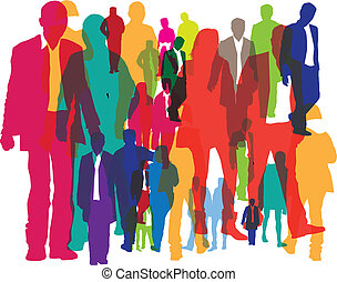 background of crowds of people - illustration of different...