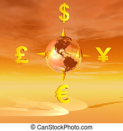 Earth compass to currencies