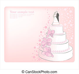 Wedding Cake.  Vector greeting card