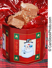 christmas fudge with nuts - closeup christmas fudge with...