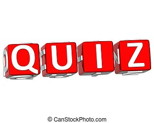 Quiz Cube text - 3D Quiz Cube text on white background