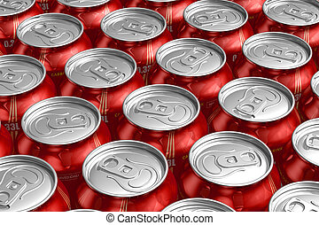 Metal cans with refreshing drinks