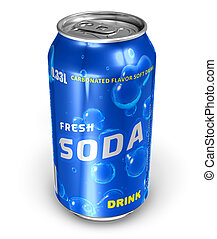 Refreshing soda drink in metal can