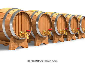 Row of wooden wine barrels