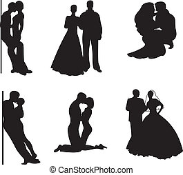 Couple Silhouette Vector set - Couple silhouette isolated on...