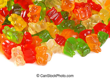 isolated assorted gummy bears on white background