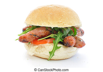 Sausage sandwich on white - Italian sausages inside a bread...