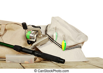 isolated fishing equipment on dock - isolated fishing...